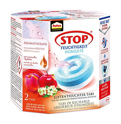 Pattex Stop Feuchtigkeit Aero 360° Luftentfeuchter Nachfüllpack Aromatherapie / Gegen Feuchtigkeit und schlechte Gerüche / Mit belebendem Früchte-Duft / 2 Nachfülltabs (2 x 450g)