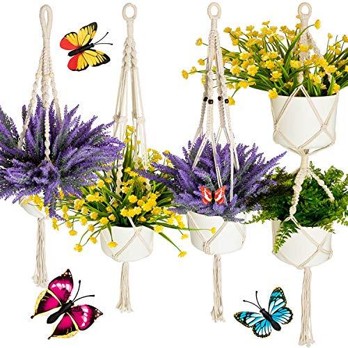 Migarda - Makramee Blumenampel - 4er Set - zum Aufhängen für außen und innen - mit Überraschungs-Schmetterlinge - Deko für Balkon/Zimmer - ohne Pflanzen, Blumentopf, Kunstpflanze - inkl. ebook