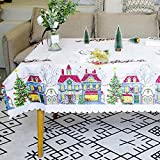 Mantel de mantel protector de mesa hogar Navidad Escena Oilcloth diseñado tela impresa paño de cocina fiesta decoración lino camino cena creativo, Lino, Santa Claus Pattern, 150 * 180cm