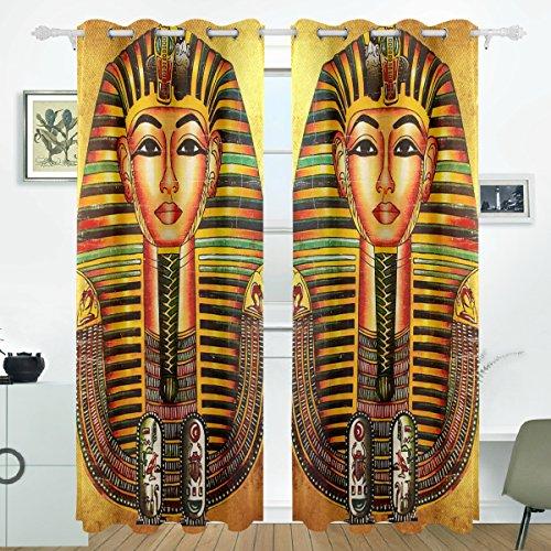 JSTEL Vintage Ägypten Art Pharao Vorhänge Panels Verdunklung Blackout Tülle Raumteiler für Terrasse Fenster Glas-Schiebetür Tür 139,7x 213,4cm, Set von 2