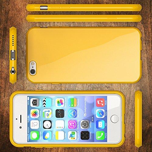 iPhone 6 6S Hülle Handyhülle von NICA, Ultra-Slim TPU Silikon Jelly Case, Dünnes Cover Gummi Schutzhülle Skin, Etui Handy-Tasche Backcover Bumper für Apple iPhone 6S 6 Smartphone - Pink Gelb