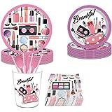 Set de fournitures de fête d'anniversaire de maquillage de spa, 93 pièces Vaisselle jetable de maquillage de spa avec assiett