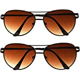 Set of 2, Classic Aviator Sunglasses for Men and Women. Mirrored and Flat, Lenses with a Metal Frame. VERY DURABLE.