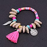MHOOOA Muschel Armband Böhmische Handgemachte Quaste Natürliche Muschel Perlen Armbänder Für Frauen Sommer Bunte Weiche Keramik Perlen Armband