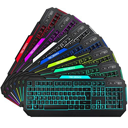 TEC.BEAN 7 Farben Beleuchtete Spiel Gaming Tastatur USB Verdrahtet, Schwarz - 2