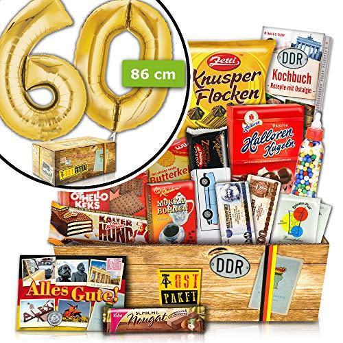 Geschenk zum 60 Geburtstag - INKL. FOLIENBALLON 60 Gold - Süßes DDR Geschenkset