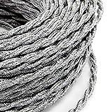Câble électrique tressé tresse style vintage avec revêtement en tissu coloré fils brut Canvas Lin Gris Clair section 2x 0,75pour lustres, lampes, abat jour, Design. Fabriqué en Italie