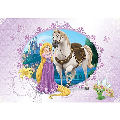 Vlies Fototapete PREMIUM PLUS Wand Foto Tapete Wand Bild Vliestapete - Kindertapete Cartoon Prinzessin Krone Schloss Lampion Walt Disney - no. 1066, Größe:368x254cm Blueback Papier (Walt Disney Schloss)