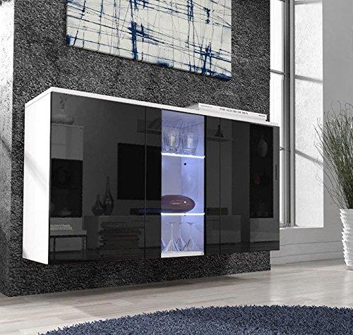 Letti e Mobili – Credenza Salve bianco con nero con LED