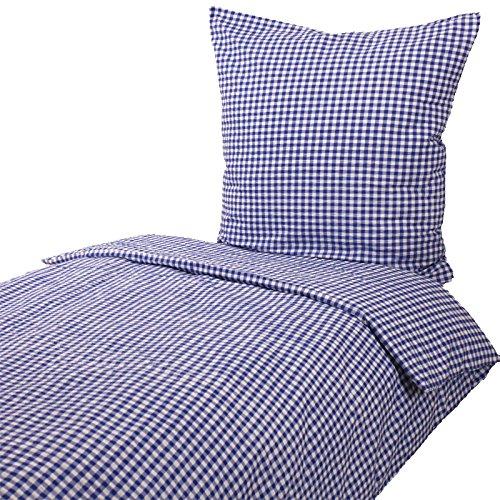 Hans-Textil-Shop Seersucker Hotelbettwäsche 135x200 cm Karo 1x1 cm Blau