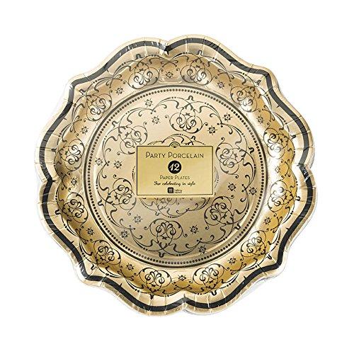 Talking Tables PPBQ-PLATE-MED Party Porcelain Baroque Assiette Moyenne Plastique Multicolore 3 x 0,03 x 22 cm - 12 paquets dans 2 design
