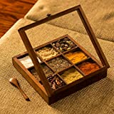 ExclusiveLane Sheesham Wooden Table Top Masala Dabba Containers Jars Cum Kitchen Spice Box with Spoon (Brown)
