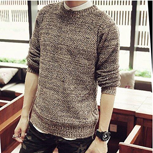 'Spritech (TM) Fashion Comfort Autunno da uomo maglia girocollo Pullover Maglione, caffè