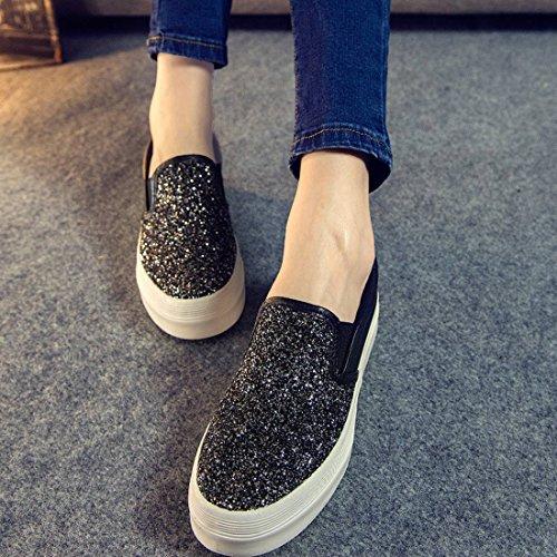 Oasap Women's Fashion Sequin Decoration Slip-Ons Sneakers Black