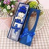 SED Künstliche Blume - Praktisches Geschenk Simulation Blume Teacher's Day Kreatives Geschenk Carnation Bear Soap Flower Soap Flower, Blau,33.5 * 9.5 * 6