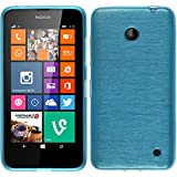 PhoneNatic Case für Nokia Lumia 630 Hülle Silikon blau brushed Cover Lumia 630 Tasche Case