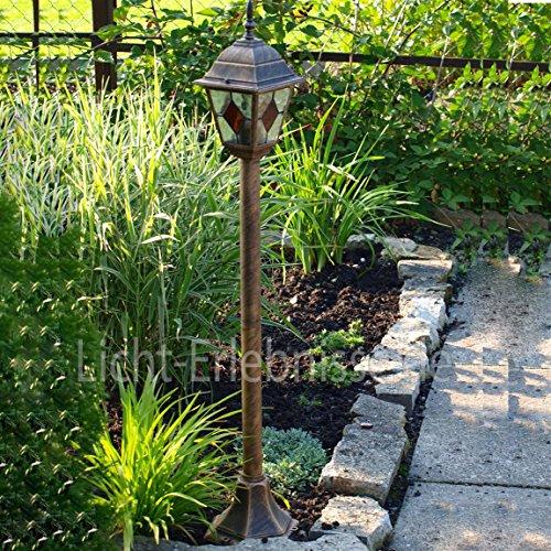 Edle Standleuchte Stehlampe in antik-gold Tiffany-Glas Hoflampe Außenleuchte Gartenleuchte 8185 IP43
