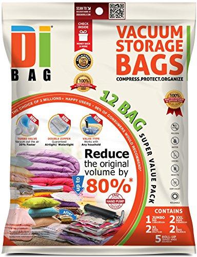 Dibag - sacchetti sottovuoto salvaspazio per abiti - 12 sacchetti da viaggio - 2x buste di plastica sigillati per la conservazione per vestiti , biancheria , piumoni, coperte , lenzuola , cuscini .