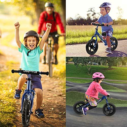 """KidoMe 12"""" Bicicletta da Equilibrio Blu Prima Bici Senza Pedale Regalo per Bambini Acciaio al Carbonio Pneumatici Senza necessità di gonfiarsi Sella e Manubrio Regolabile 2, 3, 4 ,5 e 6 Anni - 7"""