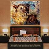 #2: 999Store Unframed printed lion mother and lion cub canvas painting (48X38 Inches)