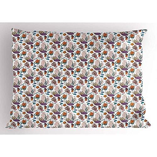 2pcs Blue Nautical Pillow Sham,Print von verstreuten Sea Plantation Algen exotische Korallen Algen Muscheln,dekorative Standard King Size gedruckt Kissenbezug,36 'x 20',weiß und mehrfarbig -
