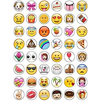 48 Round Edible Wafer Paper Iphone Emoji Cake Toppers Decorations