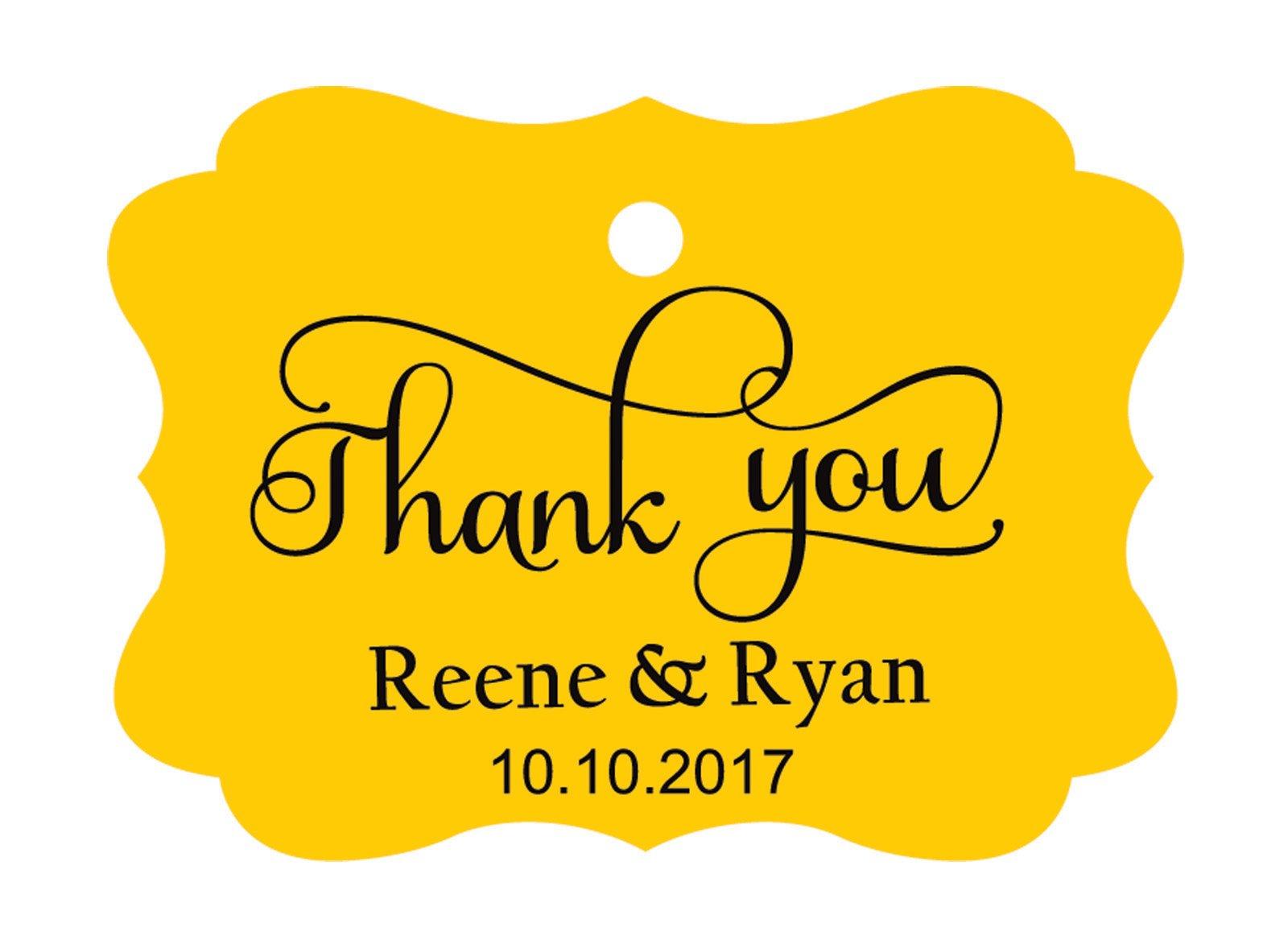 100pcs Thank You custom made cartellini personalizzato matrimonio carta regalo Tag Yellow