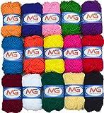 #7: M.G Enterprise 15 Wool ball combo. Hand knitting Art Craft soft fingering crochet hook yarn, needle knitting thread dyed