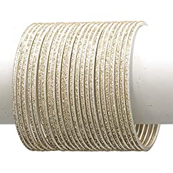 MUCH MORE Set Of 24 Base Metal made Plain Bangle Women Jewellery(Cream) (2.4)