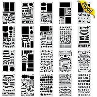 20 Pièces Bullet Journal Pochoir,Jwlife plastique Planner Pochoirs pour Journal/Agenda/Portable/Scrapbook DIY Pochoir de gabarit de dessin 10,2 x 17,8 cm