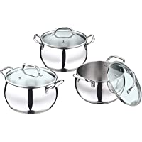 Vinod Stainless Steel Induction Friendly Almaty Casserole with Glass Lid 3-Pieces