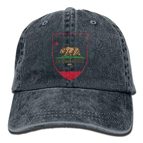 CustomHK Denim Baseball Cap California Republic Adult Vintage Washed Hat