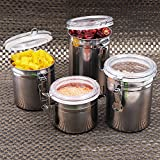 Kurtzy Stainless Steel Canisters Space Saving Kitchen Storage Container With Airtight Lid Organizer Jar For Food 1000,800,750,500ml(Silver)-Set Of 4