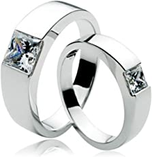 Anvi Jewellers Platinum Plated Couple Ring For Men & Women