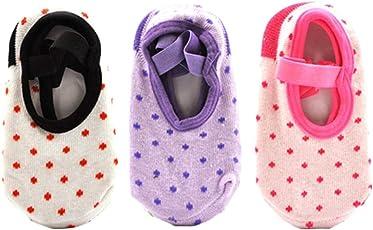 YeahiBaby Toddler Grip Socks for Baby Girls, Anti-Slip, Cotton, 10 - 36 Months, 3 Pairs