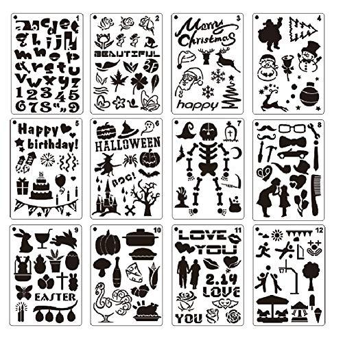 Zeichenschablonen, 12 Stück, Kunststoff, Zeichnung, Malschablonen mit Urlaubsmotiv, Malvorlage für Halloween/Geburtstag/Weihnachten/Valentinstag für Bastelprojekte (Halloween Einem Mit Geburtstag An)