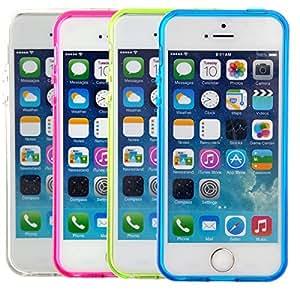 Pixnor Dauerhafte Soft Matte TPU zurück Fall decken 5 Wallet Case Schutzhülle für iPhone 5 s / iPhone 2014 Smartphone-4 Pcs/Set (Rosy + blau + grün + Transparent)