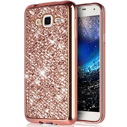 Custodia Cover Samsung Galaxy J1 ACE,Ukayfe Moda UltraSlim Gel TPU Silicone Custodia per Samsung Galaxy J1 ACE di placcatura Case Morbida Soft Bling Cristallo Protettiva Custodia Brillantini-Oro rosa