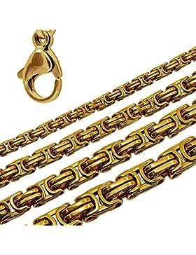 Königskette Halskette Herren Edelstahlkette Kette Panzerkette Massiv Armband Golden Herrenschmuck Glieder