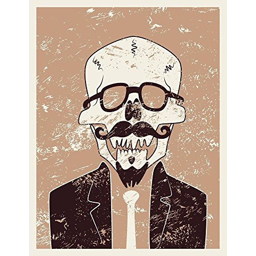 Pitaara Box Funny Skull Hipster with Mustache & Beard Peel & Stick Vinyl Wall Sticker 18 X 23.3Inch