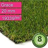 Kunstrasen Rasenteppich Grace für Garten - Florhöhe 20 mm - Gewicht ca. 1993 g/m² - UV-Garantie 8 Jahre (DIN 53387) - 2,00 m x 0,50 m | Rollrasen | Kunststoffrasen