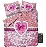 Sleeptime Bettwäsche Love Key - 200x200 - Rosa + Mit 2 Kissenbezüge 80x80