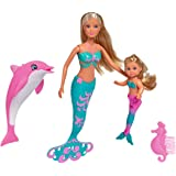 Simba- Steffi Love Evi y Amigos Muñeca maniquí sirena con minimuñeca y delfín, Color (105733336) , color/modelo surtido