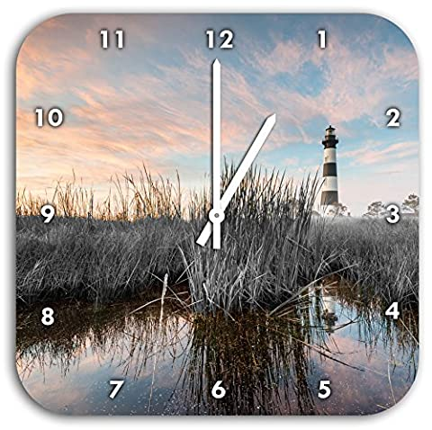 Bodie Iceland Lighthouse in North Carolina black / white, wall clock diameter 28cm with white pointed the hands and face, decoration items, Designuhr, aluminum composite very nice for living room,