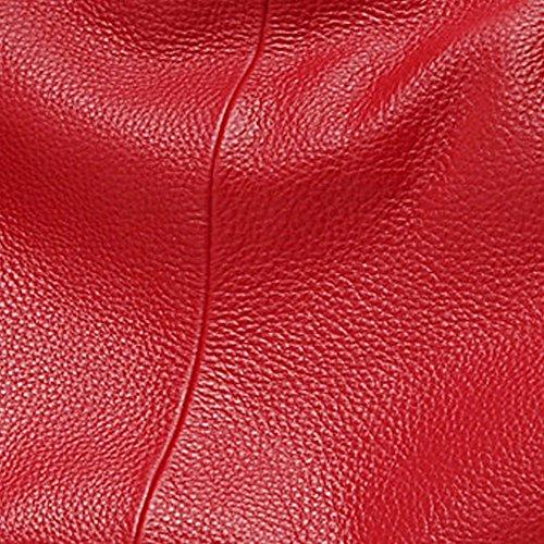 Artone Da Donna Genuino Pelle Totalizzatore Borsa A Tracolla Borsetta Nero Rosso