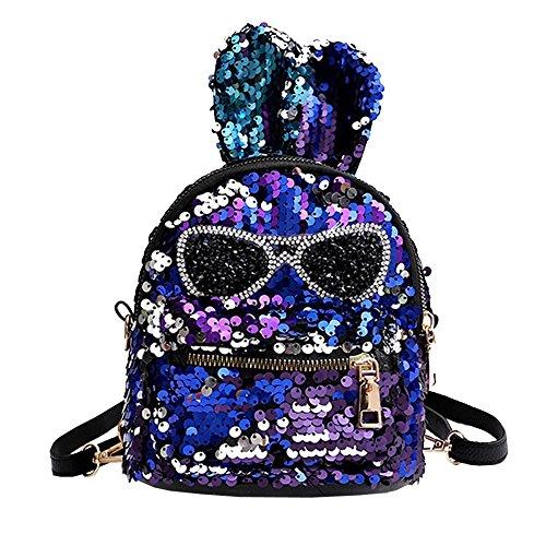 Baby Mädchen Pailletten Rucksack mit Kaninchenohr Kinder Mode Reißverschluss Reisetasche Umhängetasche Kindergarten Klein Leder Sporttasche Schulranzen Kleinkind Tagesrucksack (Blau)