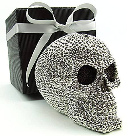 Totenkopf, Schädel, Skull, als glanzvolle Spardose im Geschenk-Set, silberfarbig, in eleganter Geschenk-Box mit Schleifenband, Geschenk für Frauen, Männer, Weihnachtsgeschenk, Gothic, Mystik, Fantasy