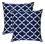 #10: ELEGANCE HOME FASHION TRELLIS SET OF TWO CUSHION COVERS 18 X 18 INCHES_NAVY