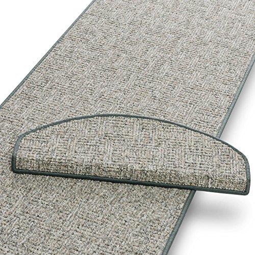 Stufenmatten grau meliert | Qualitätsprodukt aus Deutschland | GUT Siegel | kombinierbar mit Läufer | 65x23,5 cm | halbrund | 15er Set