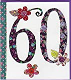 Pigment Productions Originelle Grusskarte zum 60. Geburtstag - veredelt durch Prägung und Glitter mit farbigem Umschlag im Format 16x18cm Innendruck